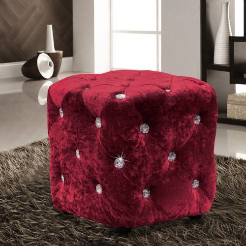 RED WINE LUXURY CRUSHED VELVET DIAMANTE FOOT STOOL CUSHION CUBE POUFFE DESIGNER FURNITURE